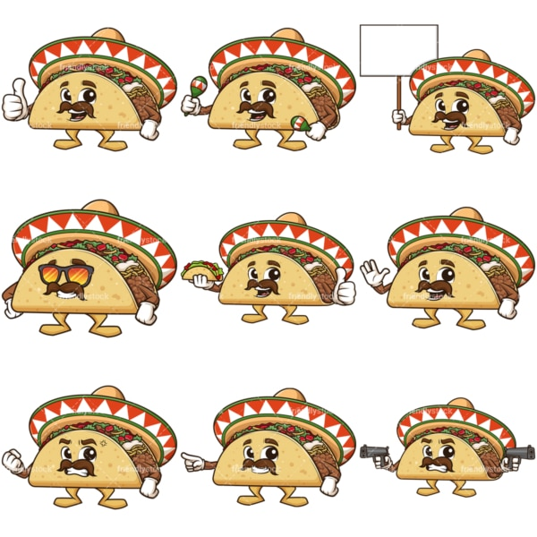 Cartoon mexican taco character. PNG - JPG and infinitely scalable vector EPS - on white or transparent background.