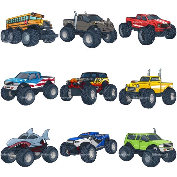 Cartoon monster trucks. PNG - JPG and infinitely scalable vector EPS - on white or transparent background.