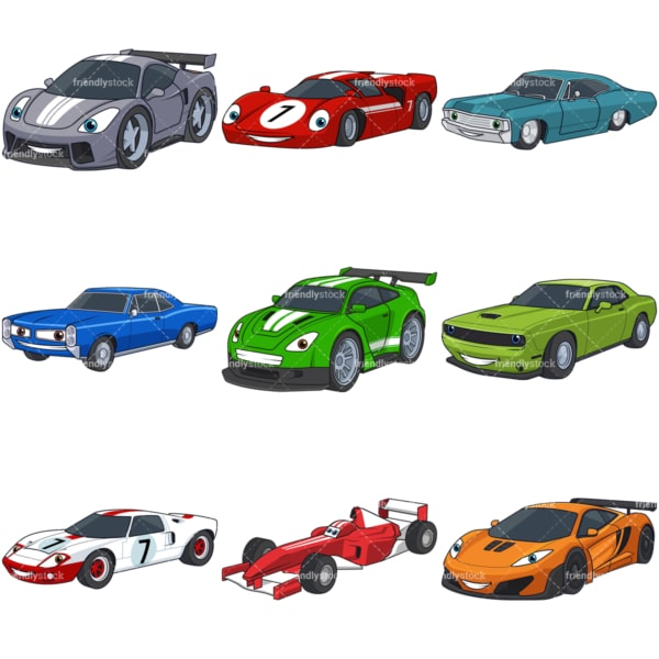 Cartoon racing cars. PNG - JPG and infinitely scalable vector EPS - on white or transparent background.