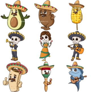 Mexican characters. PNG - JPG and infinitely scalable vector EPS - on white or transparent background.