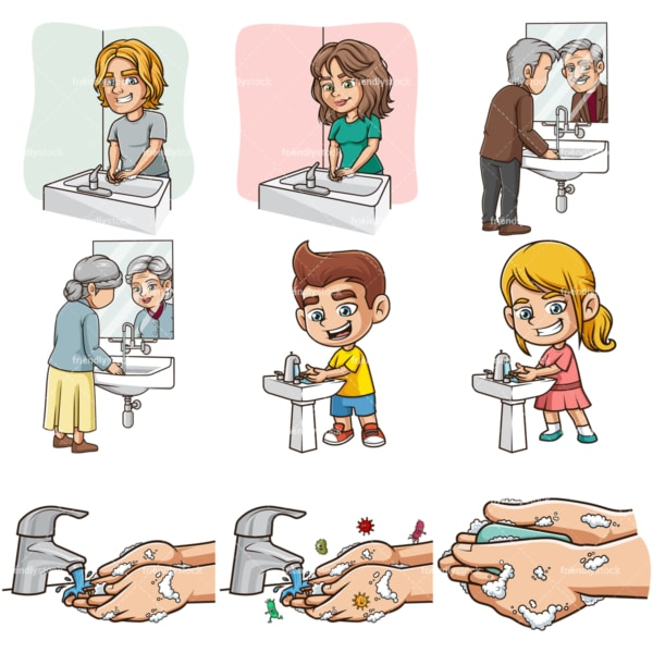 Washing hands. PNG - JPG and infinitely scalable vector EPS - on white or transparent background.
