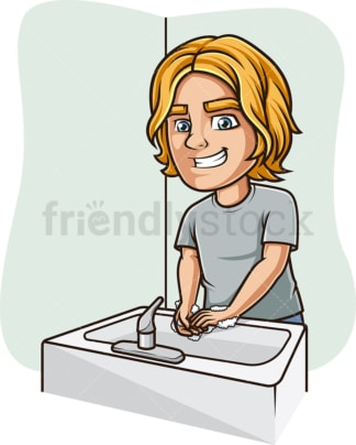 Man washing his hands. PNG - JPG and vector EPS (infinitely scalable).