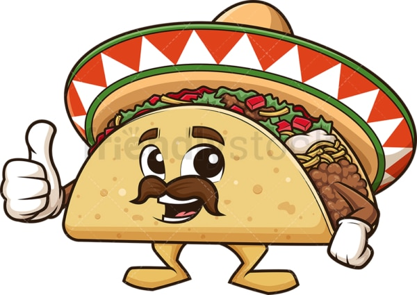 Mexican taco thumbs up. PNG - JPG and vector EPS (infinitely scalable).