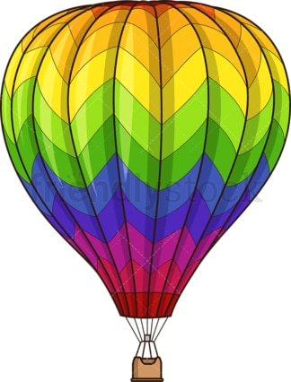 Rainbow hot air balloon. PNG - JPG and vector EPS (infinitely scalable).