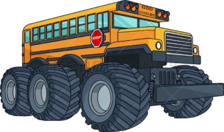 School bus monster truck. PNG - JPG and vector EPS (infinitely scalable).