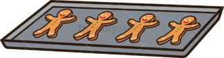 Tray of gingerbread cookies. PNG - JPG and vector EPS file formats (infinitely scalable). Image isolated on transparent background.