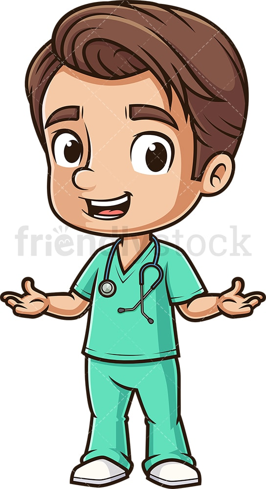 Welcoming male nurse. PNG - JPG and vector EPS (infinitely scalable).