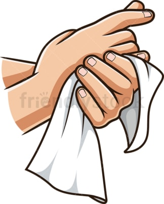 Drying hands with towel. PNG - JPG and vector EPS (infinitely scalable).