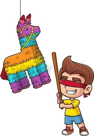 Little boy breaking pinata. PNG - JPG and vector EPS file formats (infinitely scalable). Image isolated on transparent background.