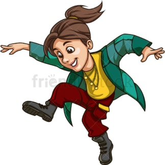 Young woman jumping. PNG - JPG and vector EPS file formats (infinitely scalable). Image isolated on transparent background.