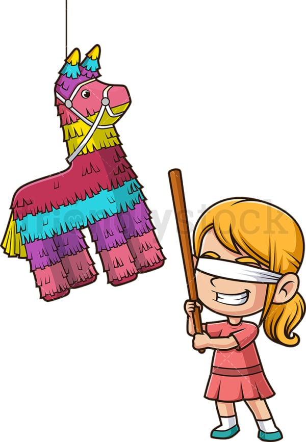 Little girl breaking pinata. PNG - JPG and vector EPS file formats (infinitely scalable). Image isolated on transparent background.