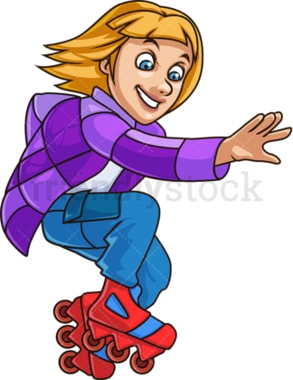 Woman with roller blades. PNG - JPG and vector EPS file formats (infinitely scalable). Image isolated on transparent background.