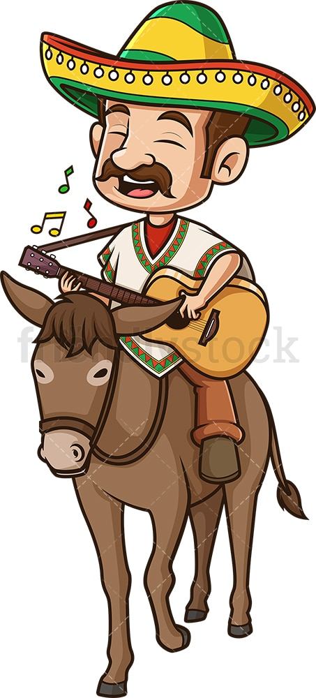 Mexican man riding a donkey. PNG - JPG and vector EPS file formats (infinitely scalable). Image isolated on transparent background.