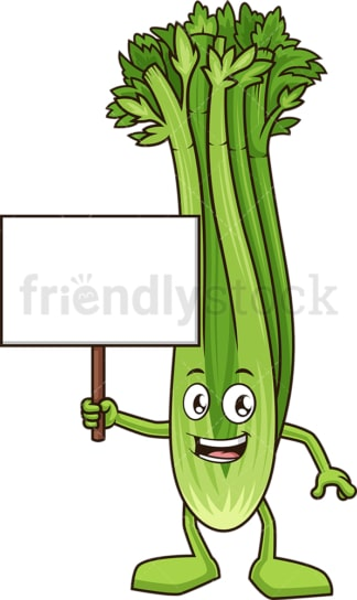 Celery holding blank sign. PNG - JPG and vector EPS (infinitely scalable).