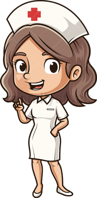 Cute nurse pointing up. PNG - JPG and vector EPS (infinitely scalable).