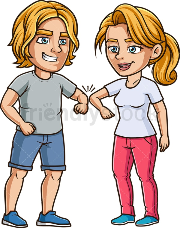 Friends greeting with elbow bump. PNG - JPG and vector EPS file formats (infinitely scalable). Image isolated on transparent background.