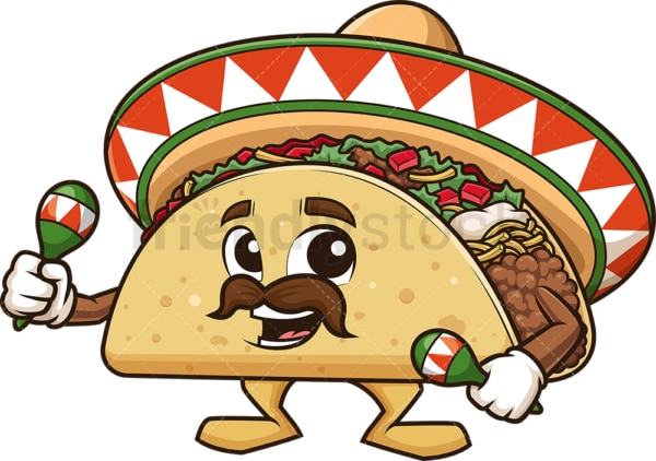 Mexican taco playing maracas. PNG - JPG and vector EPS (infinitely scalable).
