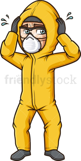 Panicking man in hazmat suit. PNG - JPG and vector EPS (infinitely scalable).