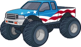 Patriotic monster truck. PNG - JPG and vector EPS (infinitely scalable).
