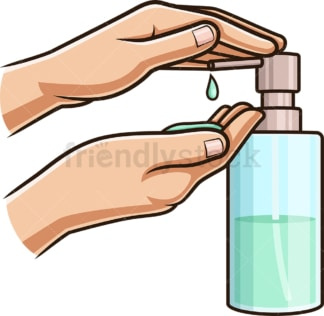 Washing hands using liquid soap. PNG - JPG and vector EPS (infinitely scalable).