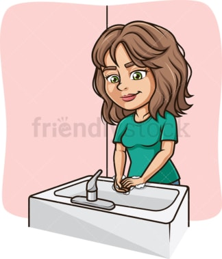 Woman washing her hands in sink. PNG - JPG and vector EPS (infinitely scalable).