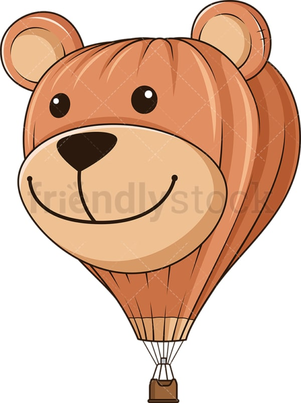 Cute bear face hot air balloon. PNG - JPG and vector EPS (infinitely scalable).