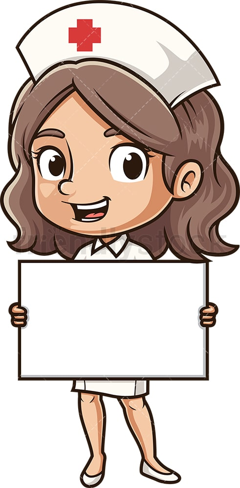 Cute nurse holding blank sign. PNG - JPG and vector EPS (infinitely scalable).
