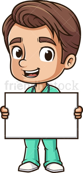 Male nurse holding blank sign. PNG - JPG and vector EPS (infinitely scalable).