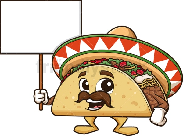 Mexican taco holding blank sign. PNG - JPG and vector EPS (infinitely scalable).
