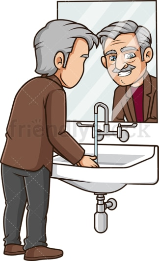 Old man washing his hands. PNG - JPG and vector EPS (infinitely scalable).