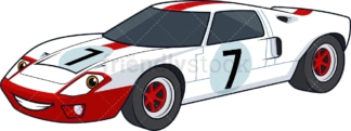 Racing car with smiley face. PNG - JPG and vector EPS (infinitely scalable).
