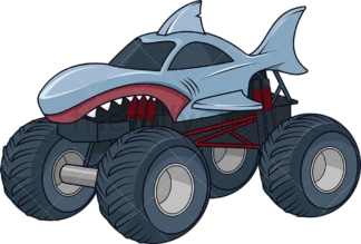 Shark monster truck. PNG - JPG and vector EPS (infinitely scalable).