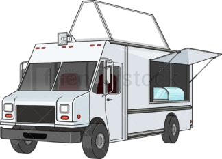 Food truck with blank sign. PNG - JPG and vector EPS file formats (infinitely scalable). Image isolated on transparent background.