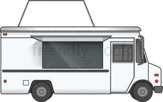 Food truck with blank sign side view. PNG - JPG and vector EPS file formats (infinitely scalable). Image isolated on transparent background.