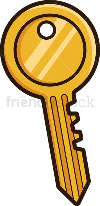 Simple gold key. PNG - JPG and vector EPS file formats (infinitely scalable). Image isolated on transparent background.