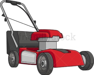 Red lawn mower. PNG - JPG and vector EPS file formats (infinitely scalable). Image isolated on transparent background.