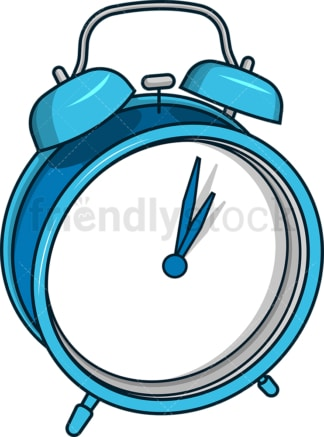 Blue alarm clock. PNG - JPG and vector EPS file formats (infinitely scalable). Image isolated on transparent background.