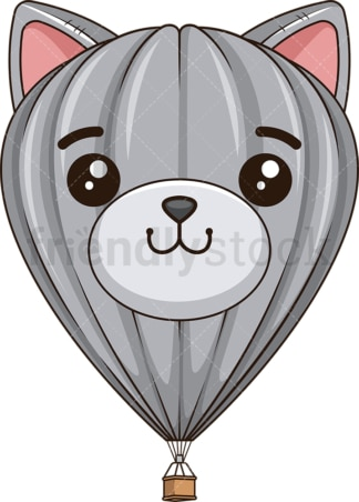 Cute cat face hot air balloon. PNG - JPG and vector EPS (infinitely scalable).