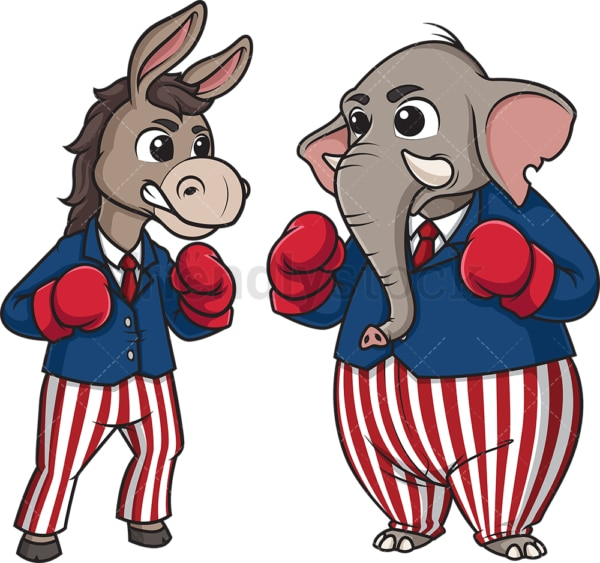 Democrat donkey and republican elephant boxing. PNG - JPG and vector EPS file formats (infinitely scalable). Image isolated on transparent background.