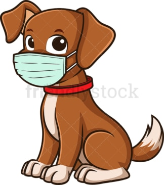 Dog wearing medical face mask. PNG - JPG and vector EPS file formats (infinitely scalable). Image isolated on transparent background.