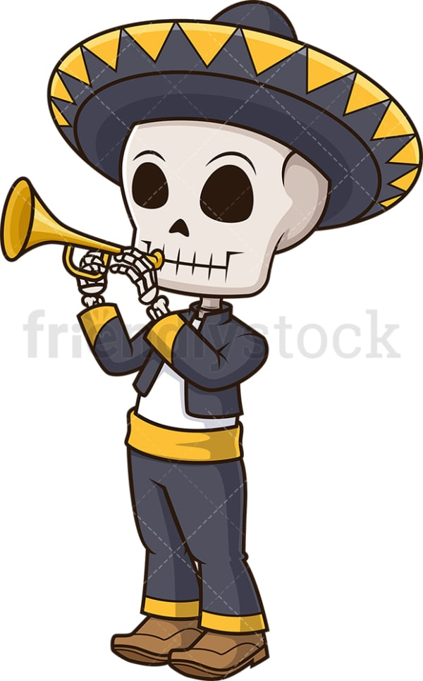 Mexican skeleton playing trumpet. PNG - JPG and vector EPS (infinitely scalable).