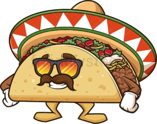 Mexican taco with sunglasses. PNG - JPG and vector EPS (infinitely scalable).