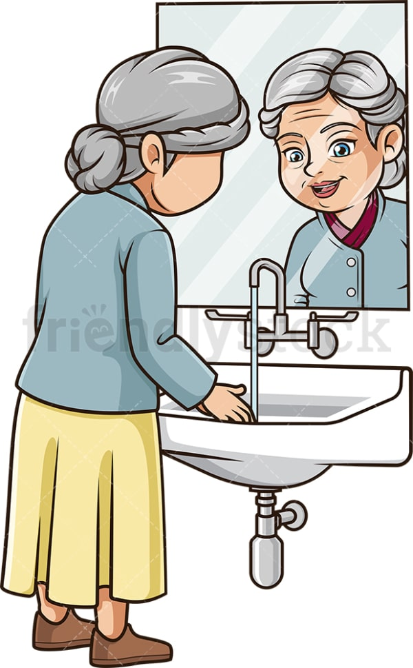 Old woman washing her hands. PNG - JPG and vector EPS (infinitely scalable).