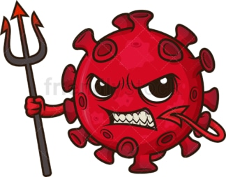 Red devil coronavirus. PNG - JPG and vector EPS (infinitely scalable). Image isolated on transparent background.
