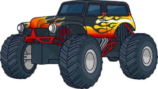 Black monster truck with flames. PNG - JPG and vector EPS (infinitely scalable).