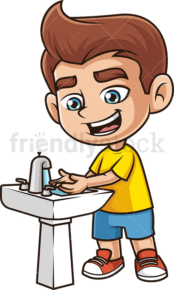 Boy kid washing hands. PNG - JPG and vector EPS (infinitely scalable).