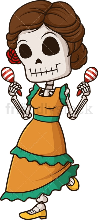 Female mexican skeleton. PNG - JPG and vector EPS (infinitely scalable).