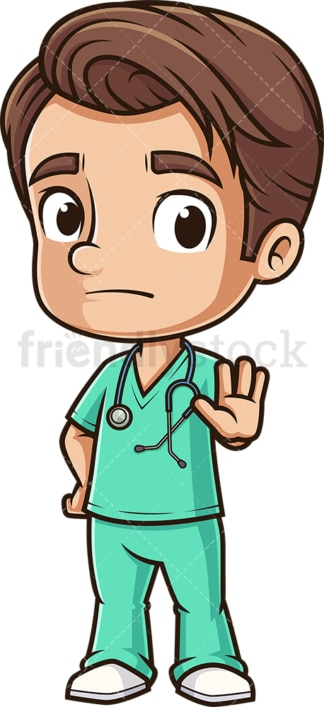 Male nurse stop hand gesture. PNG - JPG and vector EPS (infinitely scalable).