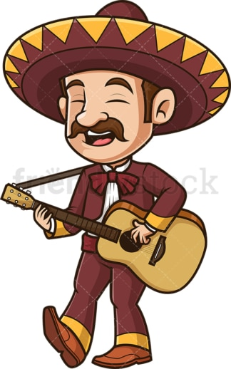 Mexican mariachi playing guitar. PNG - JPG and vector EPS (infinitely scalable).