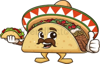 Mexican taco mascot holding taco. PNG - JPG and vector EPS (infinitely scalable).